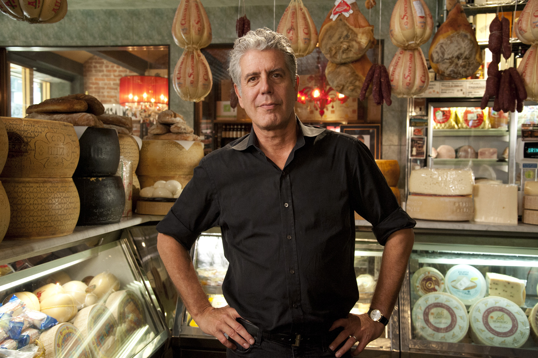 """Anthony Bourdain is seen in a photo from the production of """"Mob Week on AMC"""" in New York, NY on June 22, 2012. David E. Steele/AMC"""